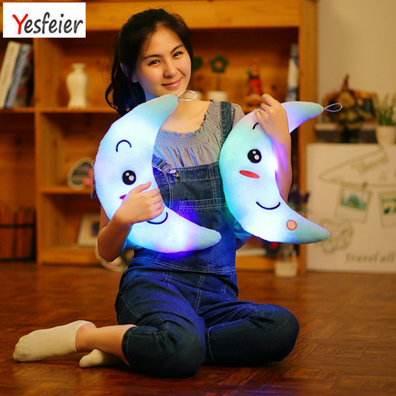 YESFEIER 38CM Colorful Moon Shape Plush Toys Moon Glowing Luminous Light Pillow Soft Relax Body Pillow Great Gift