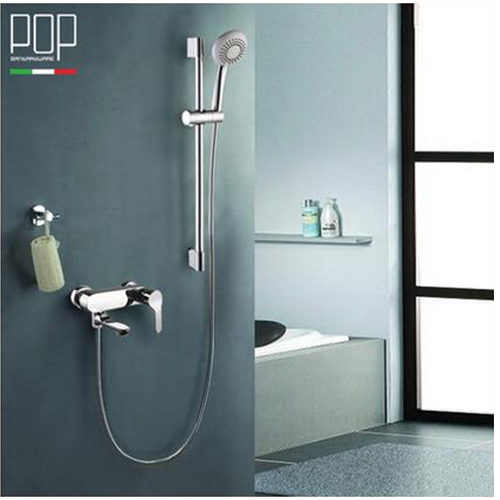 POP brand Free Shipping Polished Chrome Finish New Wall Mounted Shower faucet Bathroom single Handle Bathtub Tap Mixer Faucet brand new deck mounted chrome single handle bathroom