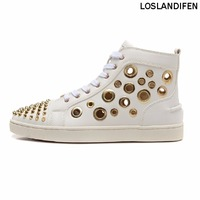 2018 New Arrival Mens Handmade Genuine Leather Sneaker Real Photo Gold Holes Spikes Flats Summer Shoes UJJ118