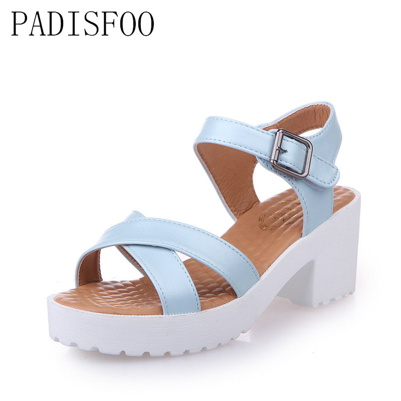 POADISFOO summer new large size women platform sandal Solid color cross strap with sandals 34 44