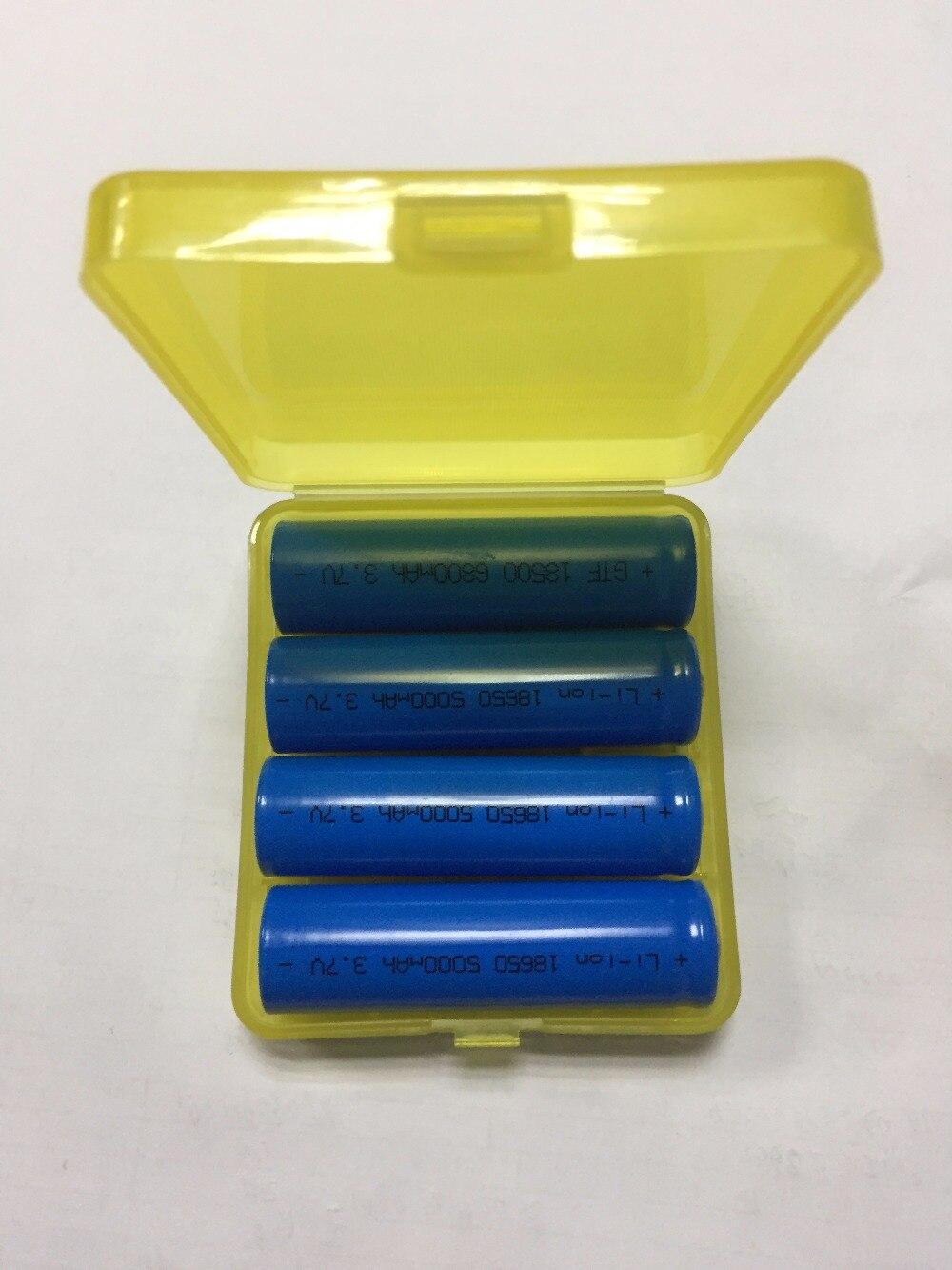 GTF 4 pc 18650 Batterie 3.7 V 5000 mAh Capacité Li-ion Rechargeable Batterie Pour lampe de Poche Torche + 18650 Batterie De Stockage boîte