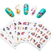 11 pçs adesivos de unhas conjunto dos desenhos animados princesa mickey arte do prego água transferência adesivos marca ddiy água diy decalques do prego suprimentos zjt0003
