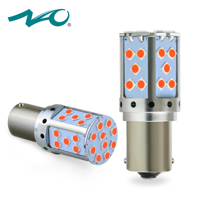 NAO P21W PY21W LED Canbus BA15S BAU15S 19W 1156 Car led Light 3030 SMD Amber White Red DRL Auto Brake Lights Turn Signal Bulb starline b64 2 can slave