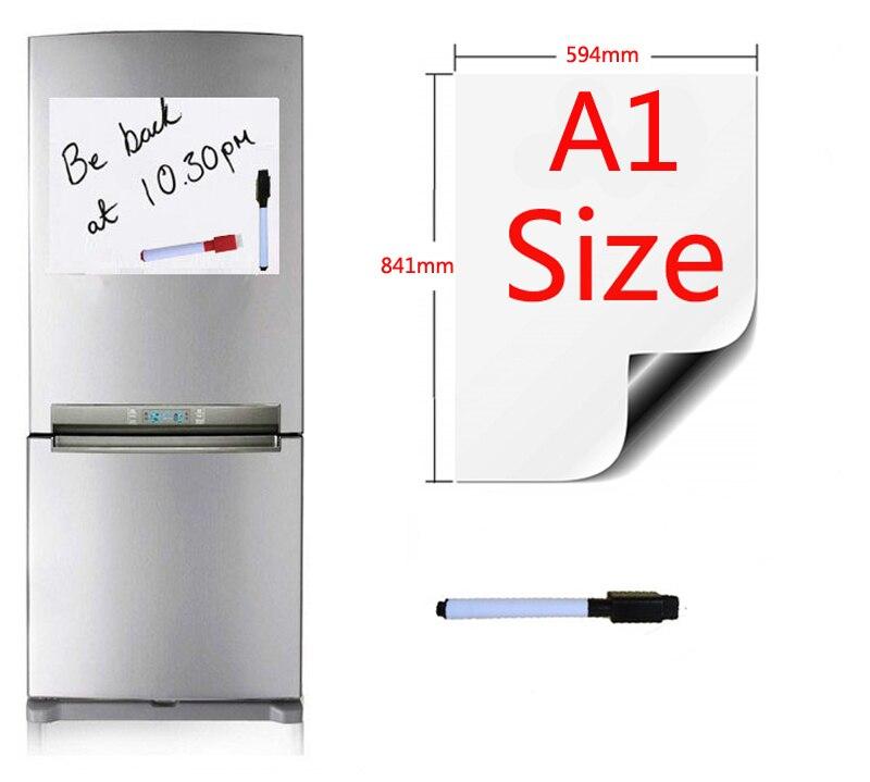 A1 taille 594x841mm tableau blanc magnétique réfrigérateur aimants tableaux de présentation accueil cuisine panneaux d'affichage écriture autocollant 1 stylo