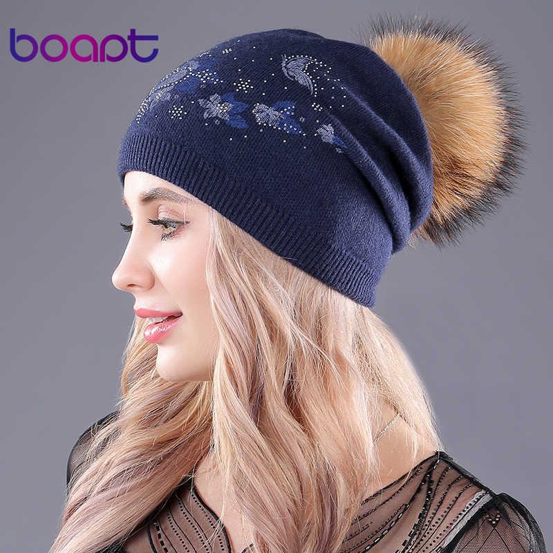[Boapt] real gấu trúc tự nhiên fur hats đối với phụ nữ của mùa đông mũ len dệt kim hat skullies beanies in ấn nếp gấp fluffy súng đại bác tự