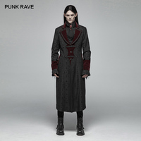 PUNK RAVE Men's Steampunk Retro Long Jacquard Jackets Coat Gothic Vampire Master Mid length Long Coat Stage Performance Costume