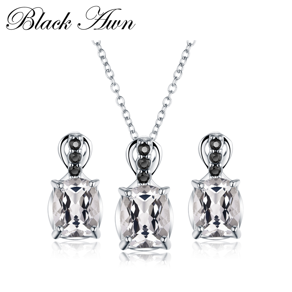 [BLACK AWN] 925 Sterling Silver Fine Jewelry Sets Trendy Engagement Wedding Necklace+Earring for Women PT160