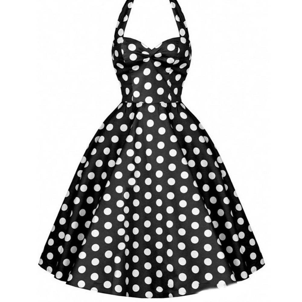 dot printed retro polka dots print women halter dress. Black Bedroom Furniture Sets. Home Design Ideas
