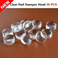 Al por mayor 50 piezas Nail Art Clear Jelly Stamper cabeza de silicona transparente Nail Stamping recarga manicura herramientas