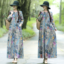 new elegant spring Autumn one-piece dress long-sleeve loose plus size long design fluid basic