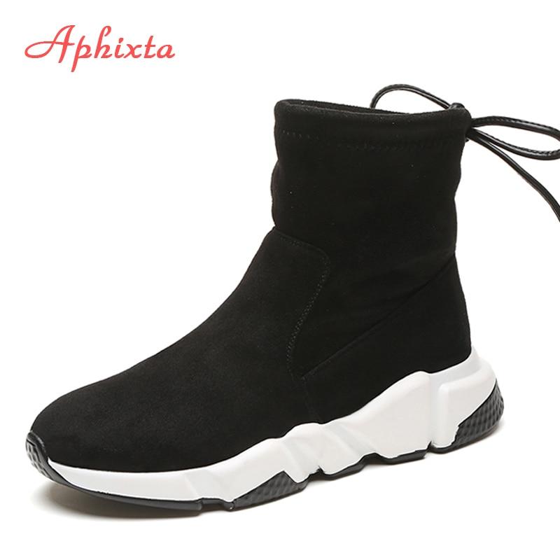 97949f0459 Aphixta Shoes Mulheres Altura Crescente Ankle Boots Apontou Toe Slip-On  Senhoras Mujer Cadarços Camurça da Vaca da Mulher da Neve do Inverno sapatos
