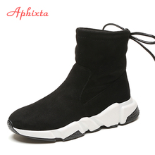 Aphixta Shoes Women Height Increasing Ankle Boots Pointed Toe Shoelaces Slip-On Ladies Mujer Winter Snow Cow Suede Woman
