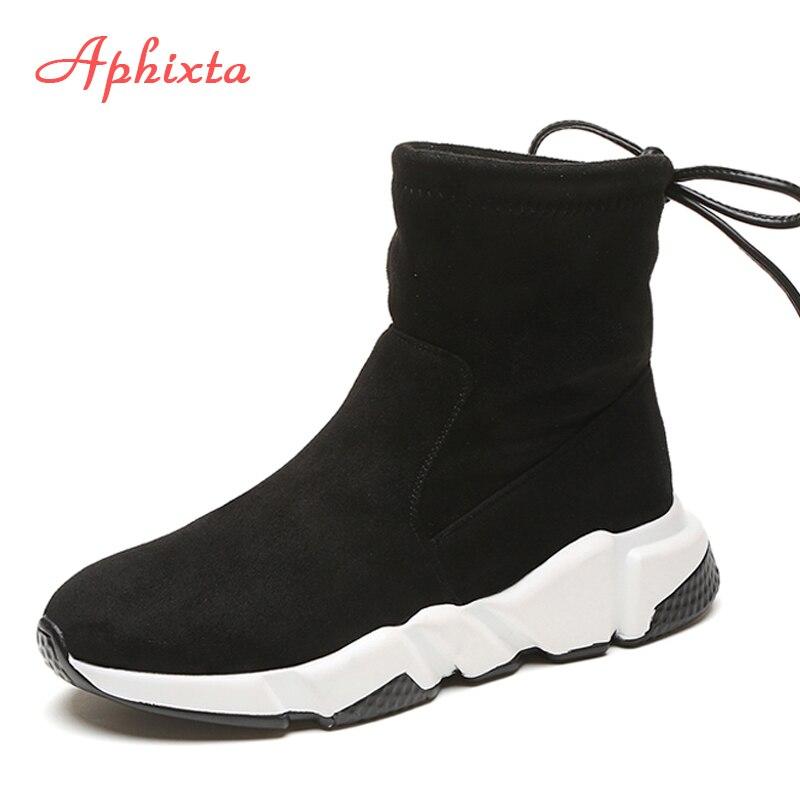 Aphixta zapatos Mujer altura aumento botines puntiagudos zapatos Slip-On señoras Mujer invierno nieve vaca gamuza Mujer Zapatos