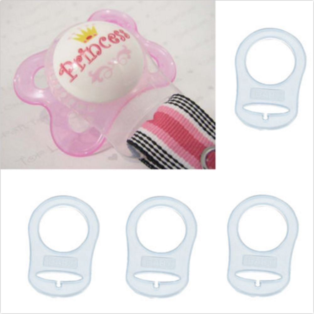50 White Transparent Silicone MAM Ring Button Style Dummy Pacifier Clip Adapters
