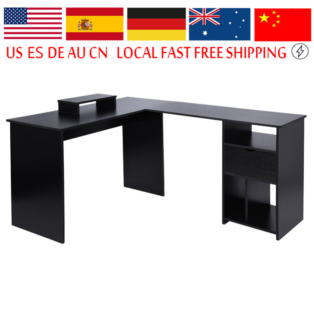 Computer-Desk Monitor-Stand Pc-Table Corner Study Dorm-Room Office L-Shaped Large Home
