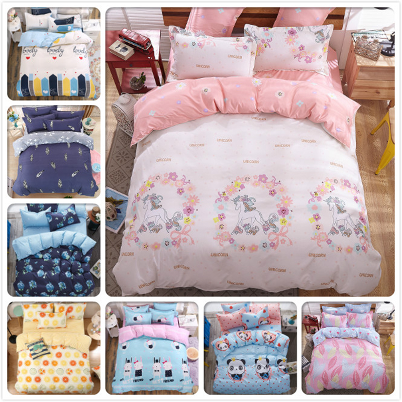 Child Student Kids Cute Cartoon Stripe Plaid 4pcs Set Bed Sheet Pillowcase Duvet Cover Twin Double Single Size New style Modern