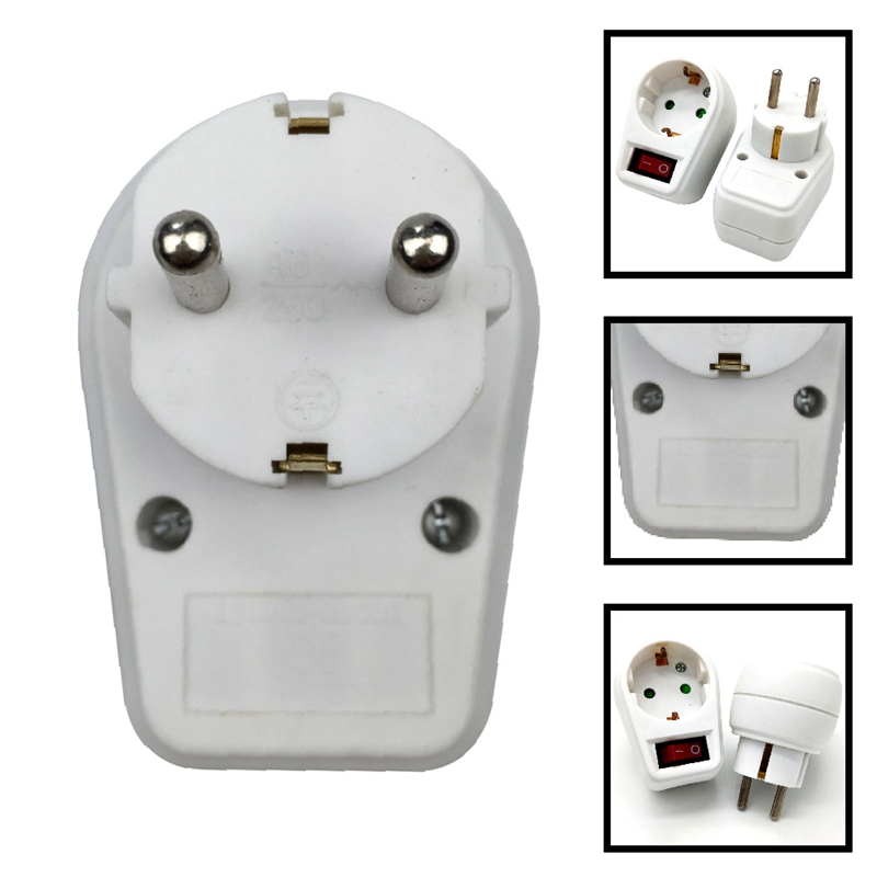 European Type Conversion Plug 1 TO 1 Way EU Standard Power Adapter Socket With Switch Neon Indicator 16A Travel Plugs