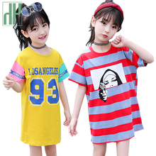 Girls Summer Dress Striped Casual Style Children Dress Girls Teenage Princess Costume Kids Girls Clothes 6 8 10 12 13 14 Year цена и фото