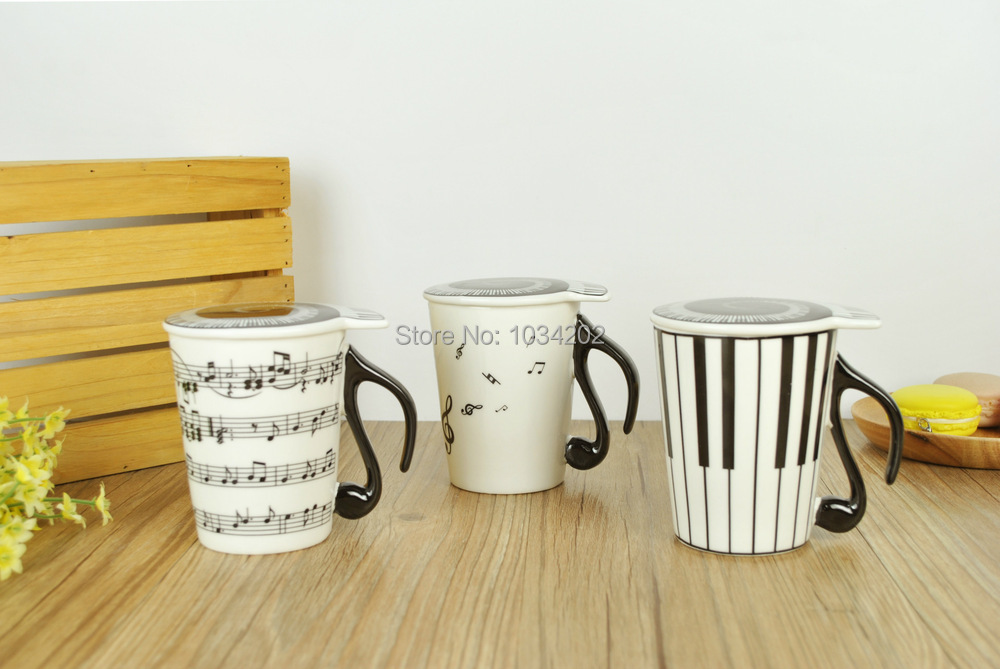 Creative Cute Piano Key Stave Ceramic Music Cup Travel Coffee Mug Tea Water Cups Copos My Bottle Tazas Cafe FREE SHIP