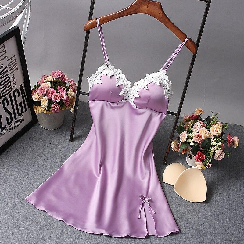 New Silk Lace Women Sleepwear Ladies Sexy Lingerie Sleepdress Babydoll Nightdress Nightgown Sleepshirts Homewear 6 color 4 Sizes
