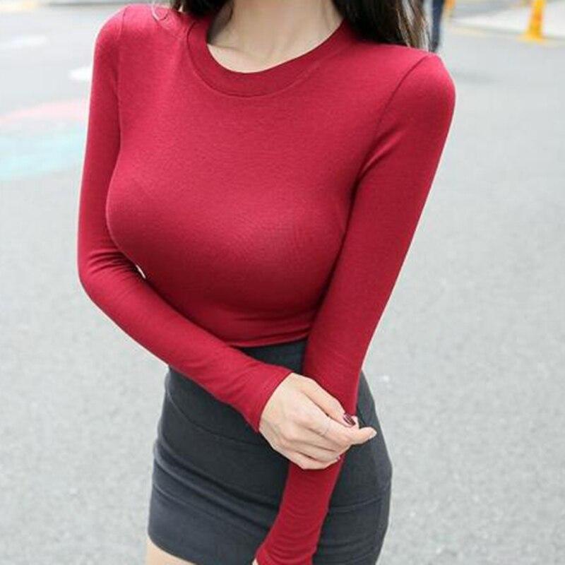 Korean Style T Shirt Women Slim Sexy Elasticity T-Shirt Casual Cotton And Rayon Tshirt