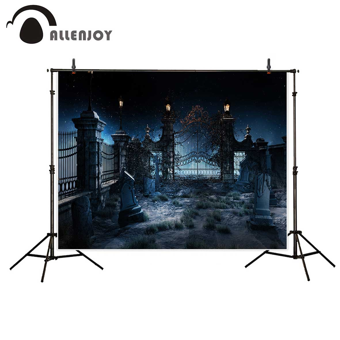 Allenjoy vinyl photo backdrops Cemetery Tombstone Horror Iron gate Halloween backdrop photocall photo printed excluding stand