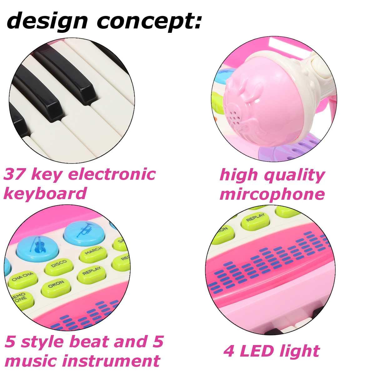 Rose 37 clés enfants clavier électronique Piano orgue jouet Microphone musique jouer enfants jouet éducatif cadeau pour enfants - 5