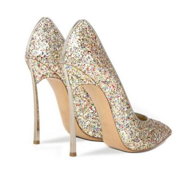 326371d7574b Sexy Bling Bling Sequin Blade Heel Pump Pointed Toe Slip on Women High Heel  Dress Shoes Metal Heel Glitter Shoes Big Size 10-in Women s Pumps from Shoes  on ...