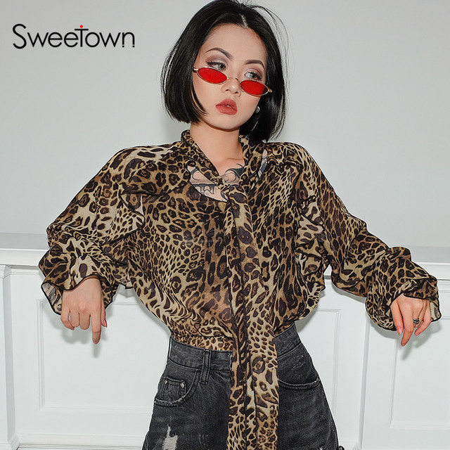 f64835aeb Sweetown Leopard Transparent Top Long Sleeve Shirt Women Elagant Mesh  Animal Print Graphic Tees Sexy Ruffles