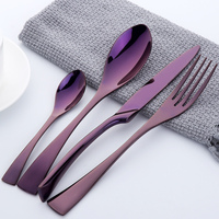 4 Pieces Tableware Set High Polished Stainless Steel Cutlery Set Steak Knife Fork Set Royal Family Dinnerware Set