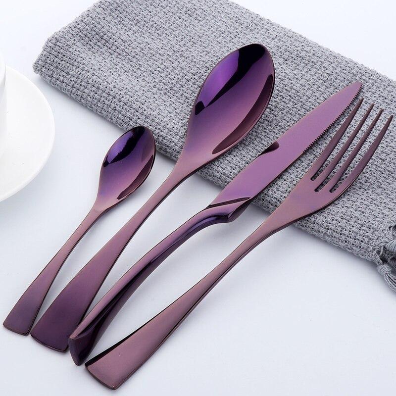 f38a333a8f2 Conjunto de Talheres 4 Peças de Aço Inoxidável Polido Alta Bife Jogo da  Faca Garfo Família Real Jantar. Dinnerware ...