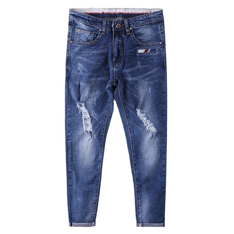 Brand Jeans  Men'S Blue Slim Denim Casual Big Size Biker Jeans Designer Classical Fashion Size 28 To 36 famous brand trousers men blue slim denim pants casual big size biker jeans designer classical fashion jean homme