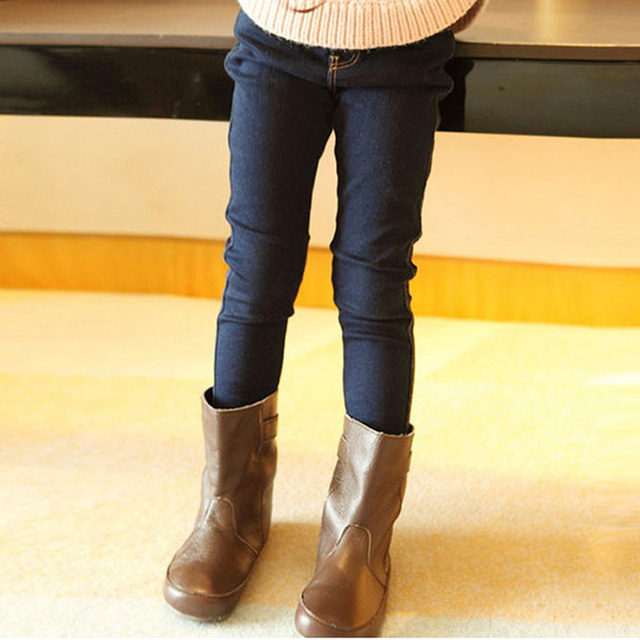 2017 New Girls fashion Jeans Casual Light Wash Unisex Elastic Waist Skinny Pants Kids Solid Trouser Mid Waist Clothes p037