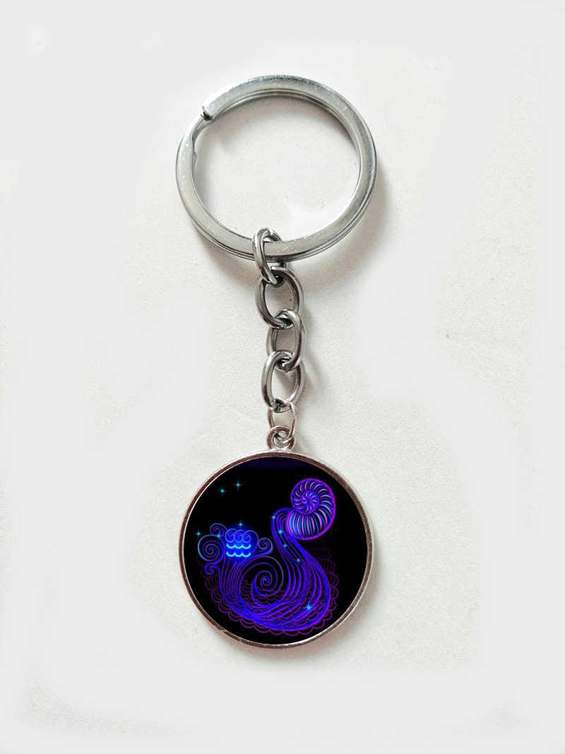 12 Libra Escorpião Sagitário constelação Galaxy Imagem Artística Chaveiro Jóia De Vidro Pingente de Chave Anel de Presente de Aniversário Do Zodíaco