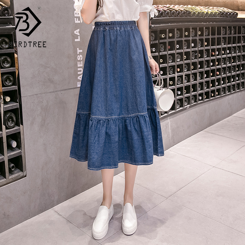 Plus 5XL Fashion 2018 New Arrival Women Empire Cotton Europe And American Style A-Line Denim Skirts Slim Loose Hots Sale B86204L