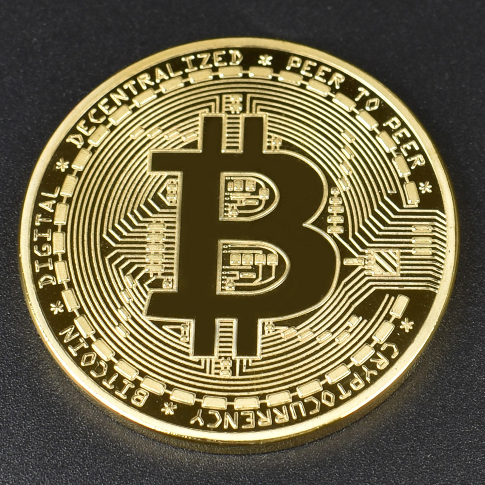 1pcs Hot sale Cheap Gold BItcoin Coin with Plastic shell Bit Coin BTC Cryptocurrency Physical metal coin for Colllection-2
