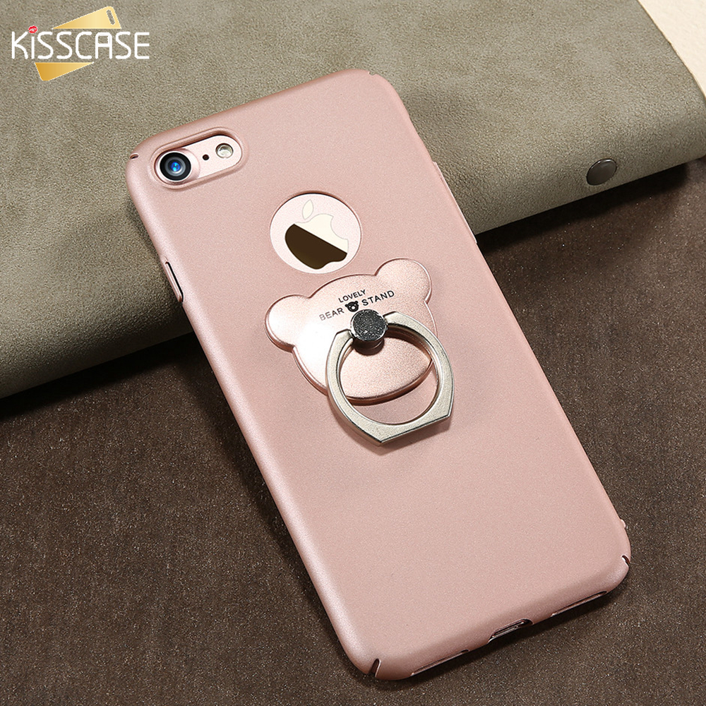 KISSCASE Ring Holder Cover For iphone 7 7 Plus 6 Case Cute Bear Ring Stand Ultra Thin Hard Plastic Case For iphone 7 6 6s Plus