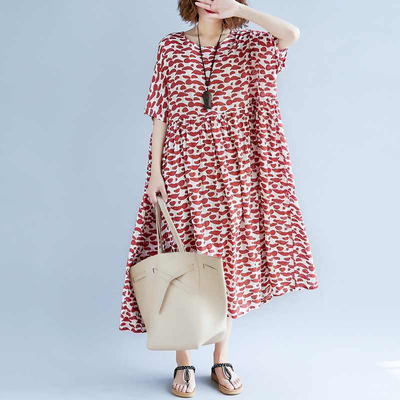 Johnature 2019 kobiet odzież Casual w koreańskim stylu na lato sukienka wysokiej talii wydruku O-Neck z krótkim rękawem luźne sukienki plażowe kobiet