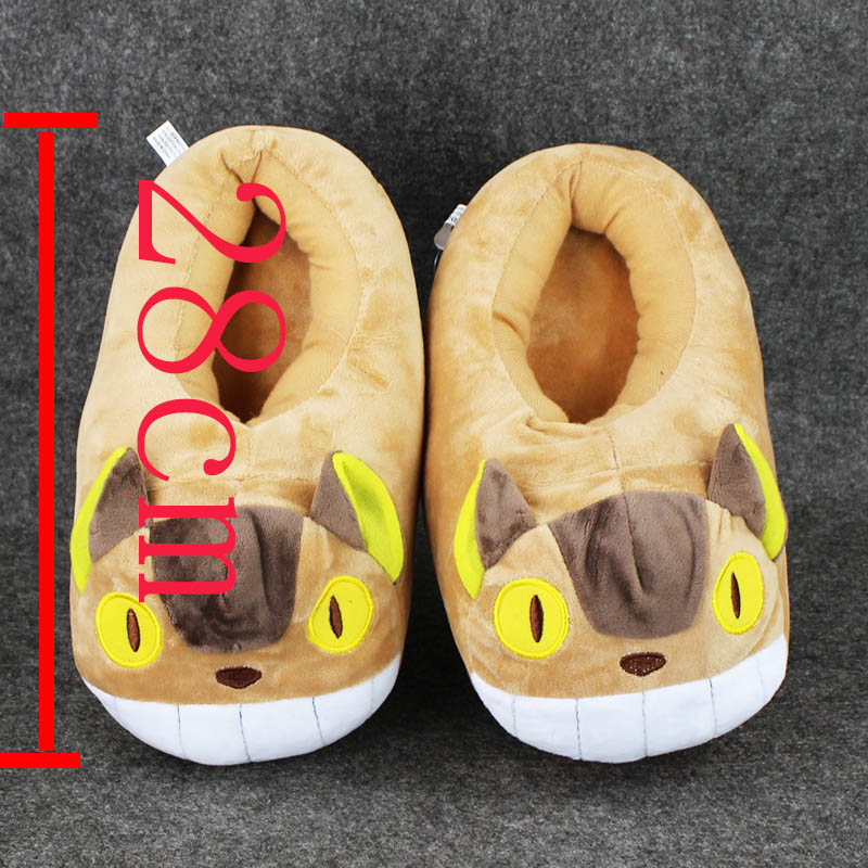 a88468788584 28cm Anime My Neighbor Totoro Cat Bus Plush Slippers Shoes Warm Winter  Adult Slipper Great Gift free shipping