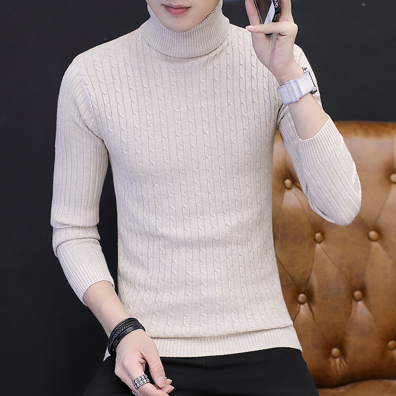 2019 Autumn And Winter Men's Casual High-necked Pullover Sweater, Warm Winter Tight Knit Shirt , Solid Color  Brand Sweaters Men