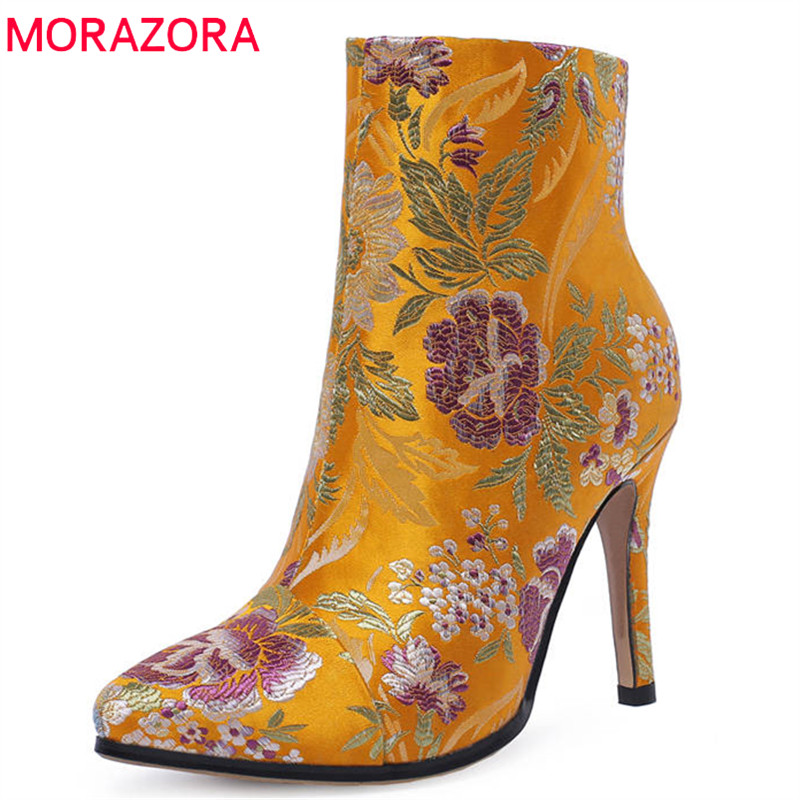 цена на MORAZORA 2018 big size 34-43 ankle boots for women pointed toe autumn winter boots top quality silk high heels prom shoes woman