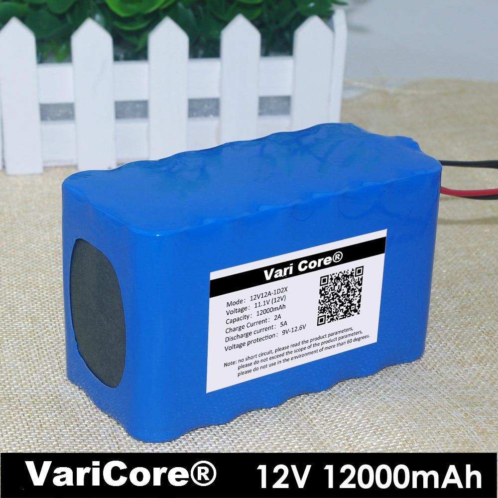 Batterie Lithium-ion 12 V 18650 plaque de Protection 12Ah lampe de chasse 12000 mAh lampe de pêche au xénon + chargeur 12.6 v 3A