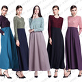 Nova moda rendas o pescoço dress kaftan abaya islâmico para as mulheres da malásia turco abaya muçulmano manga longa dress
