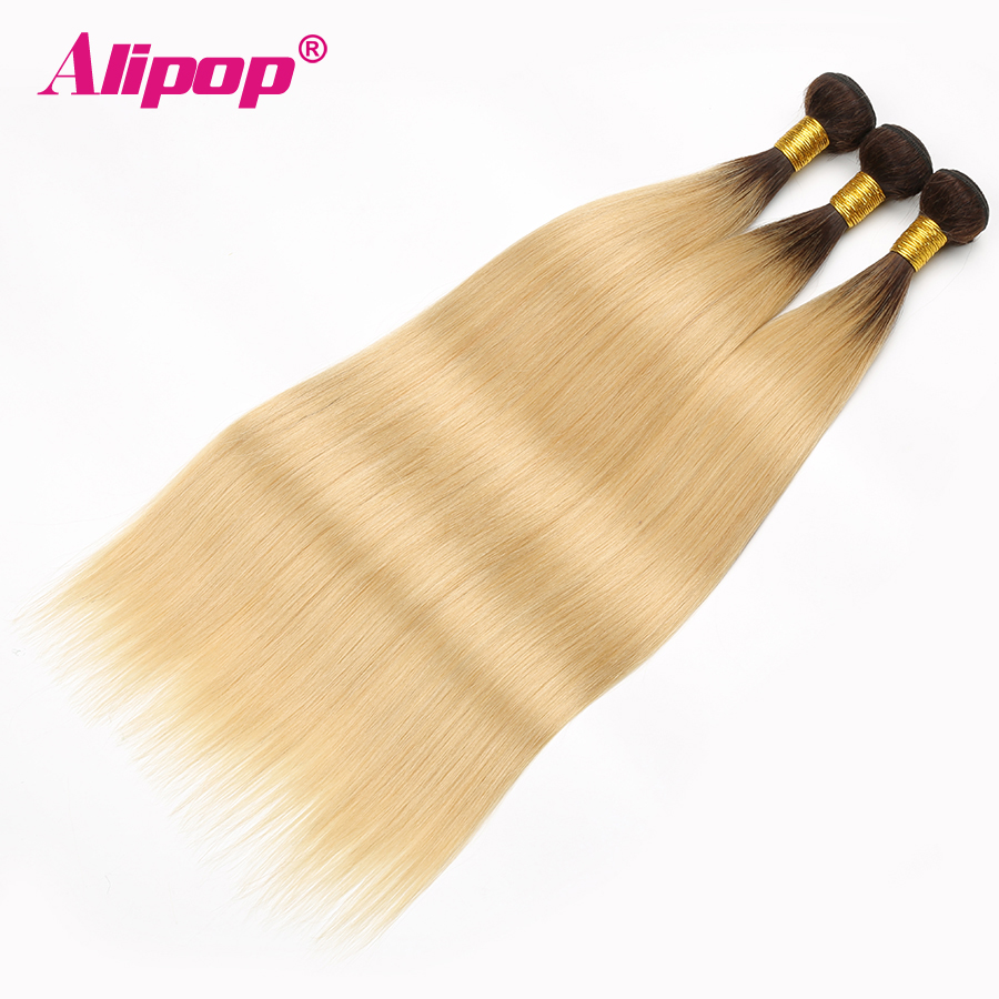 T1B 613 Bundles Brazilian Hair Straight Human Hair 3 4 Bundles Dark Roots Blonde Bundles Ombre Non Remy Hair Extensions ALIPOP (6)