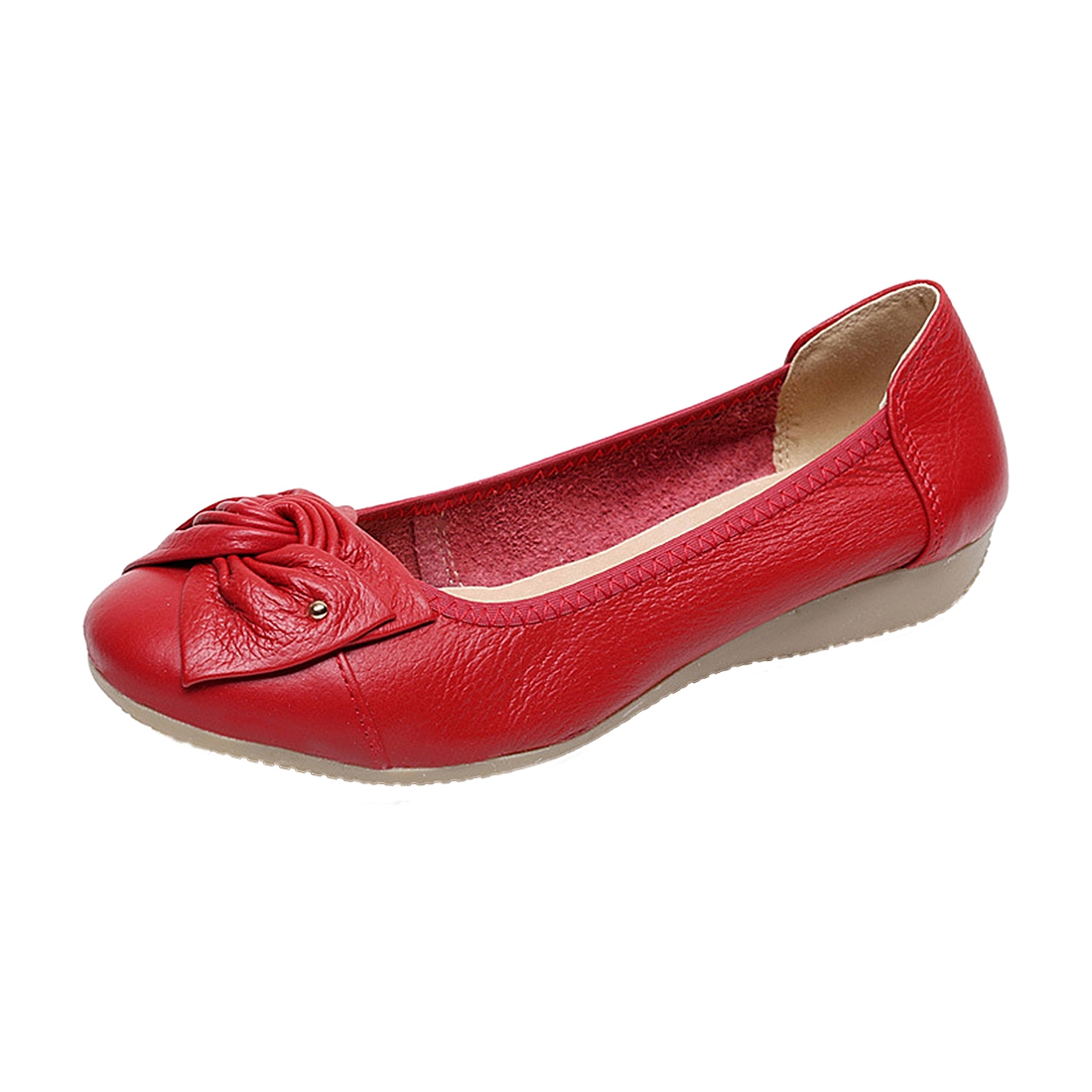 Handmade genuine leather ballet women female casual shoes women flats shoes slip on car-styling driving loafer Red US11 ballet shoes