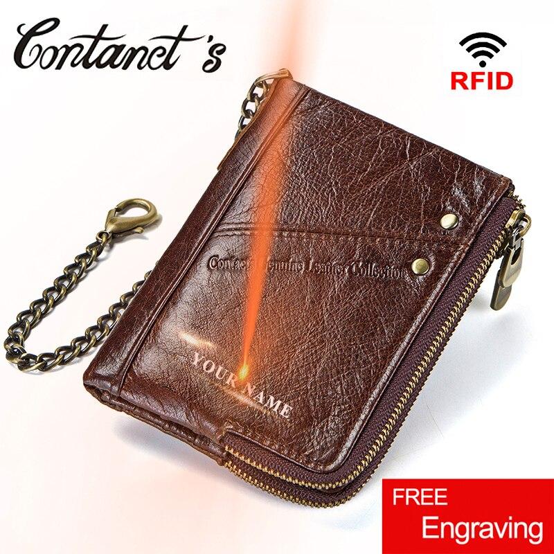 Vintage Rfid Wallets 100% Genuine Leather Men Short Wallet For Cards Male Coin Purse Card Holder Pocket Double Zipper Design