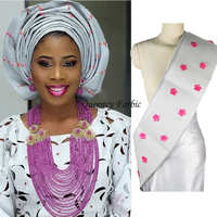 2017wholesale African ASO oke headtie with 3d flowers with beads 11color available length17.2 meters African ASO EBI for women .