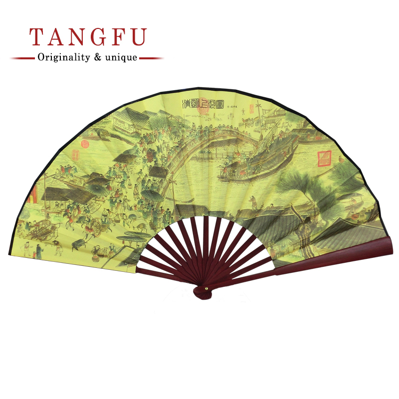 Chinese Men Vintage Silk Bamboo Folding Fan Classic s