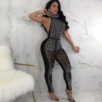 Women Sexy Hot Drilling Transparent Jumpsuit Summer Sleeveless Rhinestone Bodycon Playsuits Sequin Backless Romper