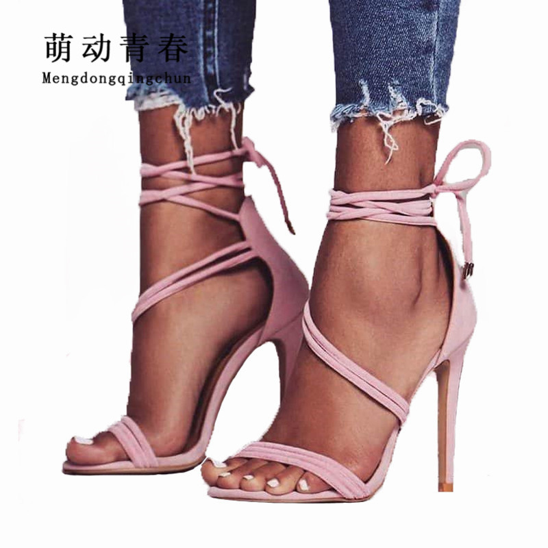 New Women Pumps 2018 Gladiator Peep Toe Thin Heels Shoes Fashion Women Ankle Strap Lace Up Party Shoes Women Summer High Heels 2018new style summer high heels peep toe pumps fashion ankle strap club party shoes woman sexy peep toe platform shoe women